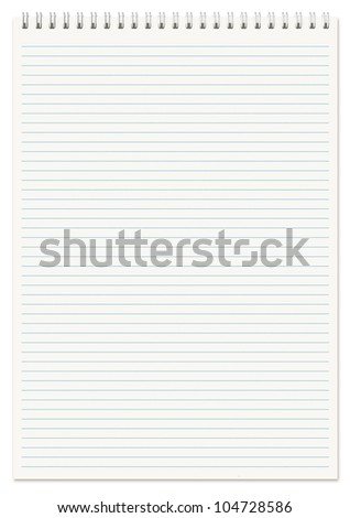 Spiral lined notebook A4 isolated on white. - stock photo