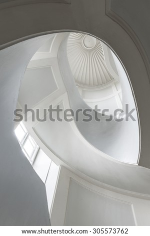 Spiral modernist staircase in Warsaw, Poland - stock photo