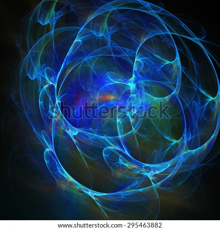 Spiral Nebula. Billowing smoke. Particles of paint in the water. Abstract. Fractal illustration. Space. Dark background.