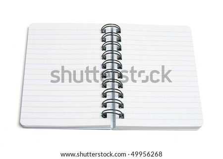 Spiral Notebook on White Background - stock photo