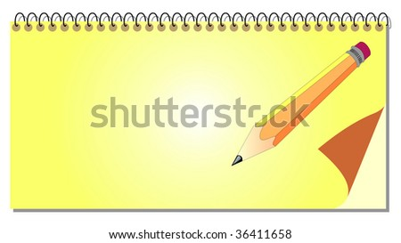 Spiral notepad with pencil - for vector see my portfolio - stock photo
