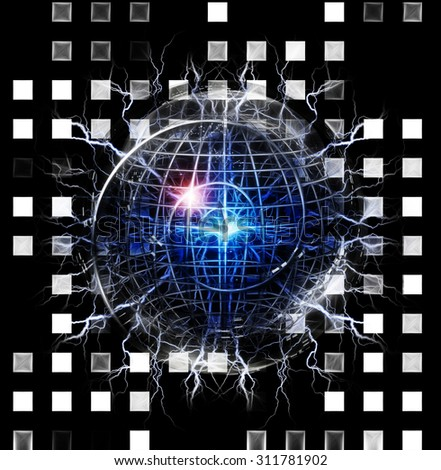 Spiral of time enclosed in crystal sphere Created by me entirely from my own images - stock photo