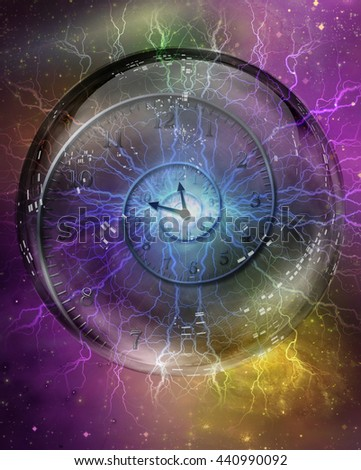 Spiral of time enclosed in crystal sphere 3D Render - stock photo