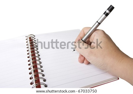 spiral or wiro bound notebook with hand and pen - stock photo