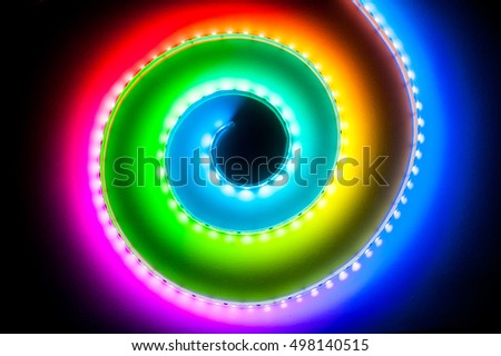 Spiral rgb led light strip bokeh stock photo edit now shutterstock spiral rgb led light strip bokeh background aloadofball Image collections