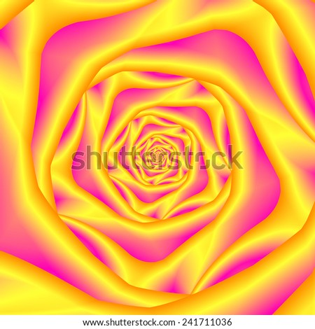 Spiral Rose in Yellow and Pink / An abstract fractal design with a spiral rose design in yellow and pink. - stock photo