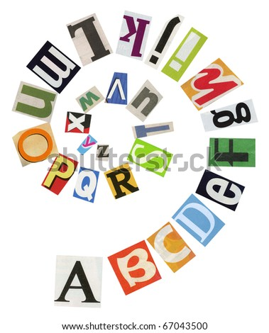 Spiral shape ABC collage made of newspaper clippings. - stock photo