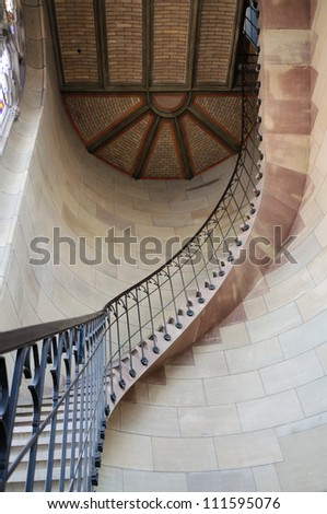 Spiral Staircase in Elisabethenkirche in Basel, Switzerland. - stock photo