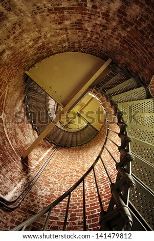 Spiral staircase in Oregon's Cape Blanco lighthouse - stock photo