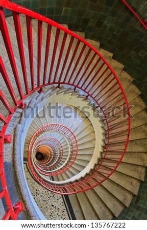 Spiral staircase in the Neboticnik building in Ljubljana - stock photo