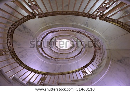 Spiral staircase in the US Supreme Court Building, Washington, DC - stock photo