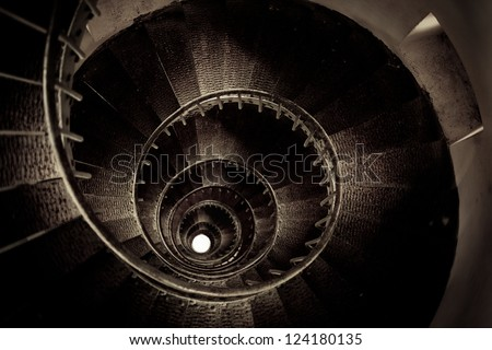 spiral staircase inside Lighthouse