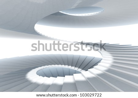 spiral staircase on white sky - stock photo