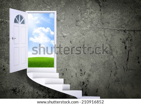 Spiral stairs and magic doors - stock photo