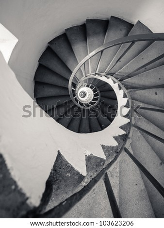 Spiral stairs in a tower - stock photo
