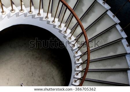 Spiral stairway detail. Historic building architectural element - stock photo