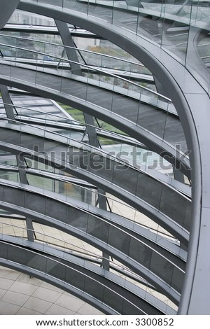 Spiral staricase in Reichtag glass dome in Berlin Germany