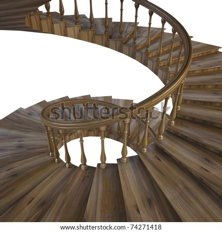 spiral wooden staircase. - stock photo