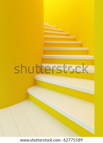 spiral wooden staircase, high resolution 3d rendering - stock photo