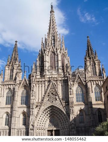 Spire of Santa Maria del Mar cathedral in Barcelona, Catalonia, Spain  - stock photo