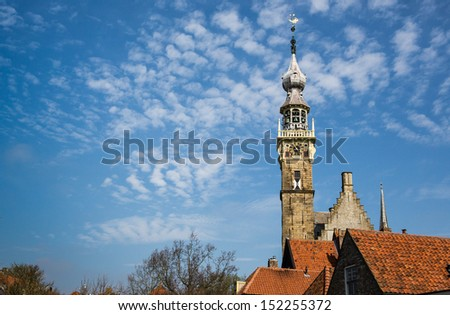 Spire of Veere Courthouse in vintage historic town in Netherlands - stock photo