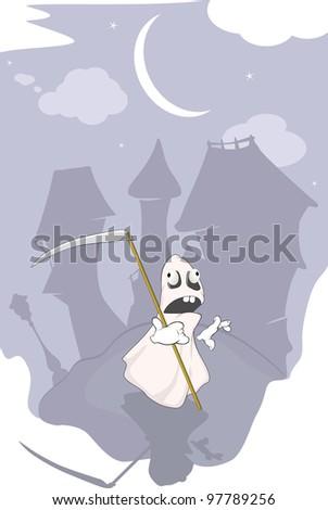 Spirit and night city - stock photo