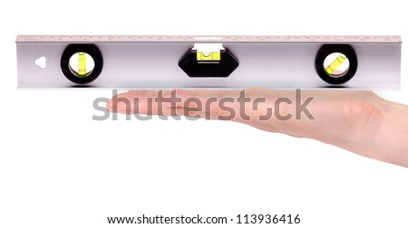 spirit builder's level in hand  isolated on white background - stock photo