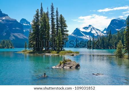Spirit Island in Maligne Lake, Jasper, Canada - stock photo