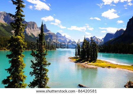 Spirit Island in Maligne Lake, Jasper, Canada - stock photo