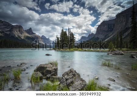Spirit Island, Jasper National Park, Canadian Rockies, Maligne Lake, near Jasper, Alberta, Canada - stock photo