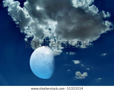 Spiritual image of dramatic night sky with moon and clouds . - stock photo