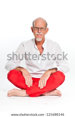 Spiritual senior man with glasses. Isolated on white.