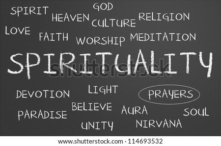 Spirituality word cloud written on a chalkboard
