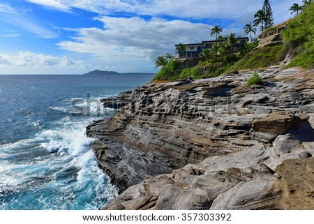 Spitting Cave of Portlock in Oahu, Hawaii