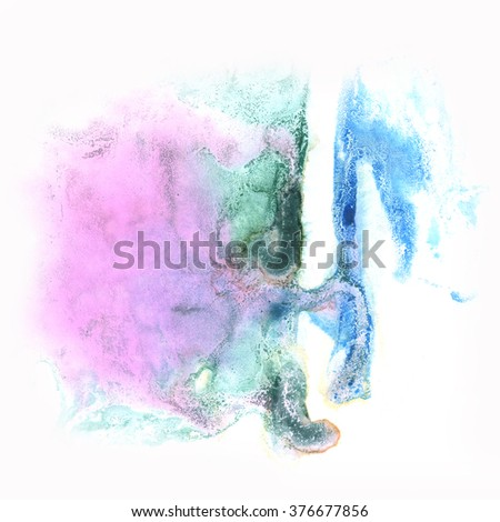 splash abstract  watercolor ink blot purple green watercolour isolated white background