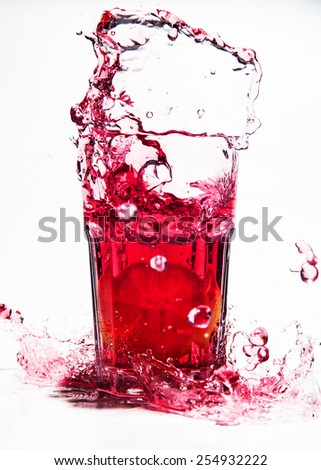 splash drink, white background