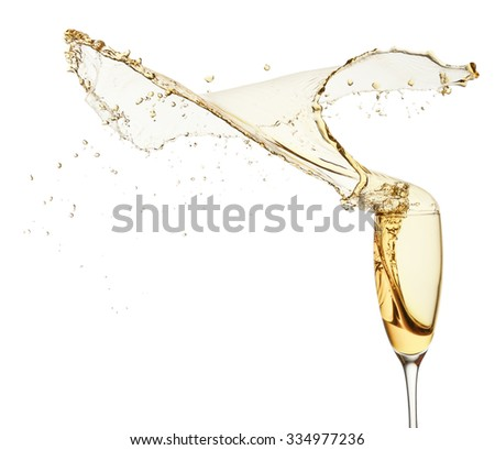 splash of champagne isolated on the white background