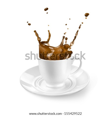 Splash of coffee in the cup isolated on white - stock photo