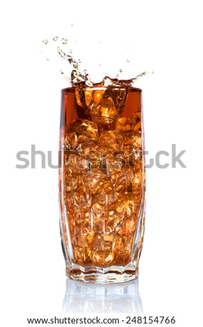 splash of cola in glass with ice isolated on white - stock photo