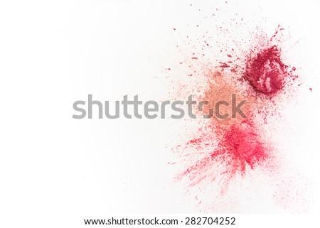 Splash of Natural Make up Tints  on White Background - stock photo