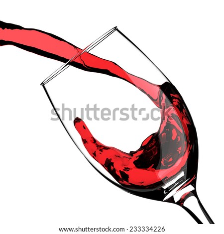 Splash of Red Wine Pouring in Crystal Glass - stock photo
