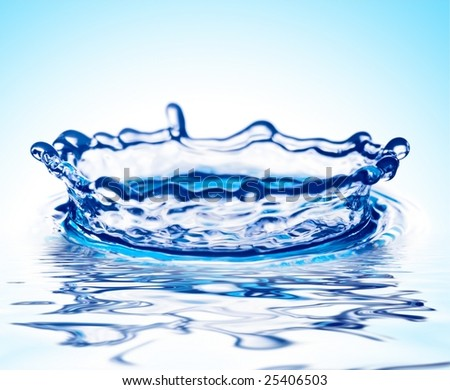 splash of transparent water on turn blue background