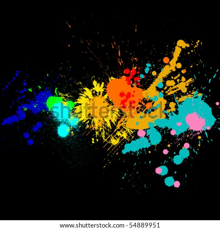 Splash of water colors on a black background - stock photo