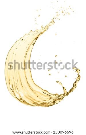 splash of white wine, isolated on white background - stock photo