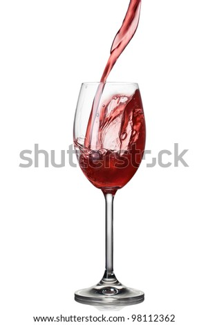 Splash of wine in glass isolated on white
