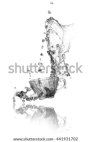 Splash out drink from glass on white background.  - stock photo