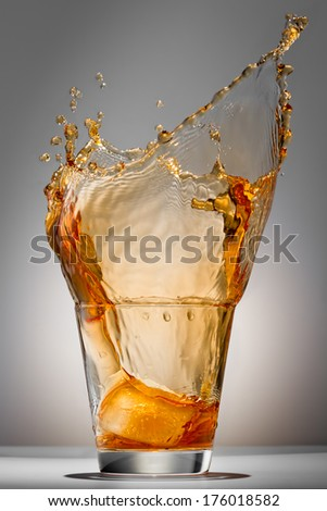 Splash water like whiskey in the glass on grey background