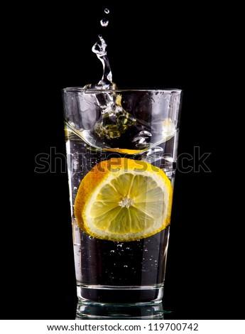 Splash Water Lemon Over Black Background Stock Photo ...
