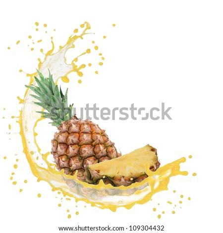 Splash with pineapple isolated on white - stock photo