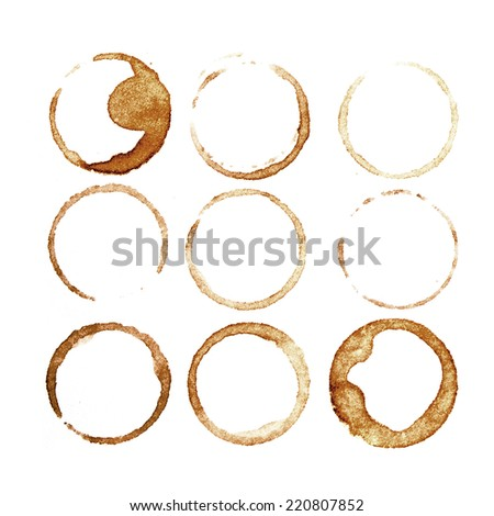 Splashes and traces of coffee cup. Circles and rings on white background. Texture for identic of cafe, store